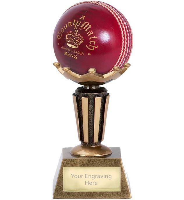 "Cricket Ball Holder Trophy on Decorative Base 9.5cm (3.75"")"