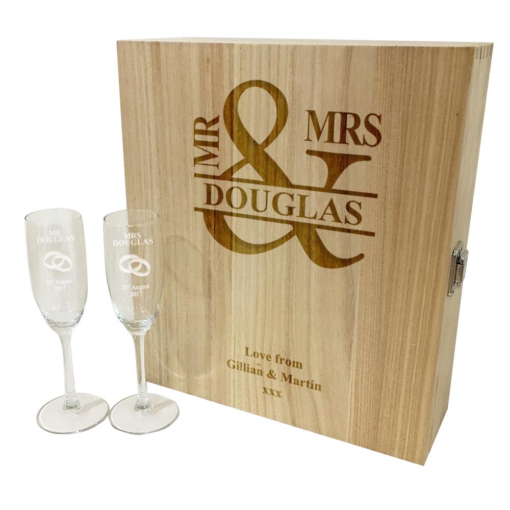 "Mr & Mrs Triple Wine Box & Champagne Flutes Gift Set 35cm (13.75"")"