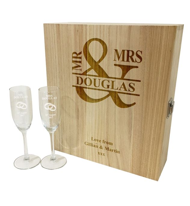"Mr & Mrs Triple Wine Box & Champagne Flutes Gift Set 35cm (13.75"")"
