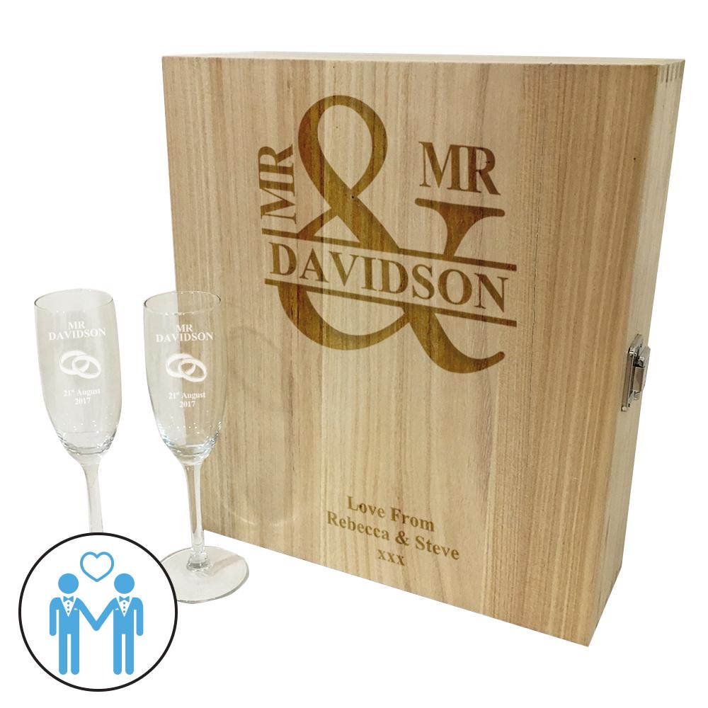 "Mr & Mr Triple Wine Box & Champagne Flutes Gift Set 35cm (13.75"")"
