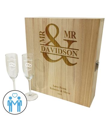 "Mr & Mr Triple Wine Box & Champagne Flutes Gift Set 35cm (13.75"")"