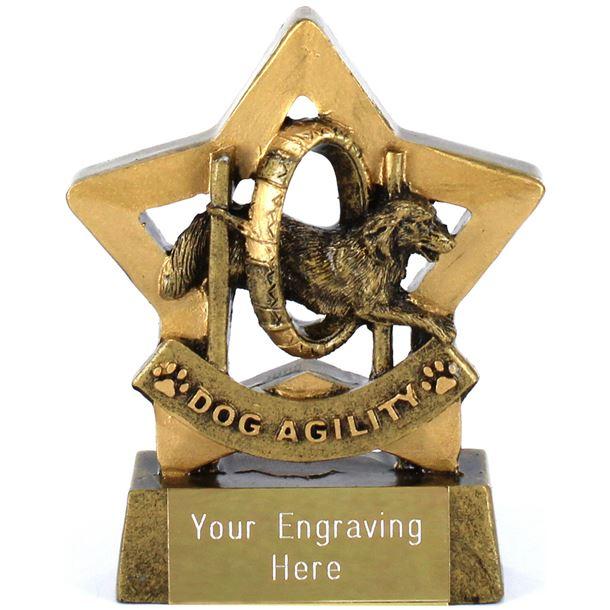 "Antique Gold Resin Mini Star Dog Agility Trophy 8.5cm (3.25"")"