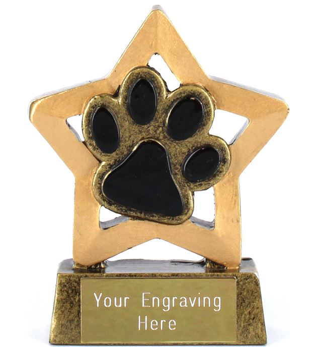 "Antique Gold Resin Mini Star Dog or Cat Paw Pet Trophy 8.5cm (3.25"")"