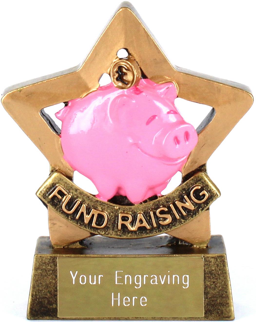 "Mini Star Resin Piggy Bank Fund Raising Trophy 8.5cm (3.25"")"