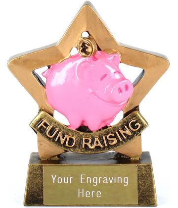 "Mini Star Resin Piggy Bank Fund Raising Trophy 8.5cm (3.25"")"