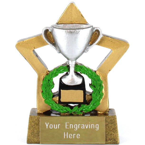 "Resin Mini Star Silver Cup Trophy 8.5cm (3.25"")"