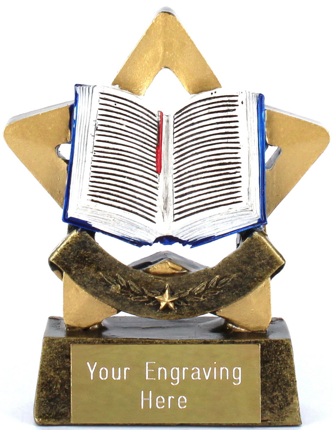 "Resin Mini Star Open Book Reading Trophy 8.5cm (3.25"")"