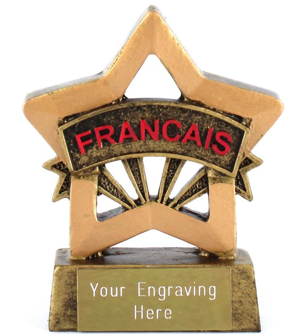 "French Resin Mini Star Award Trophy 8.5cm (3.25"")"