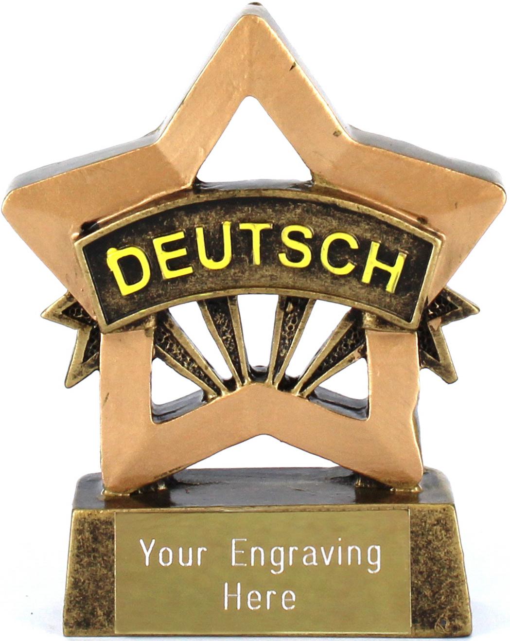 "German Resin Mini Star Award Trophy 8.5cm (3.25"")"