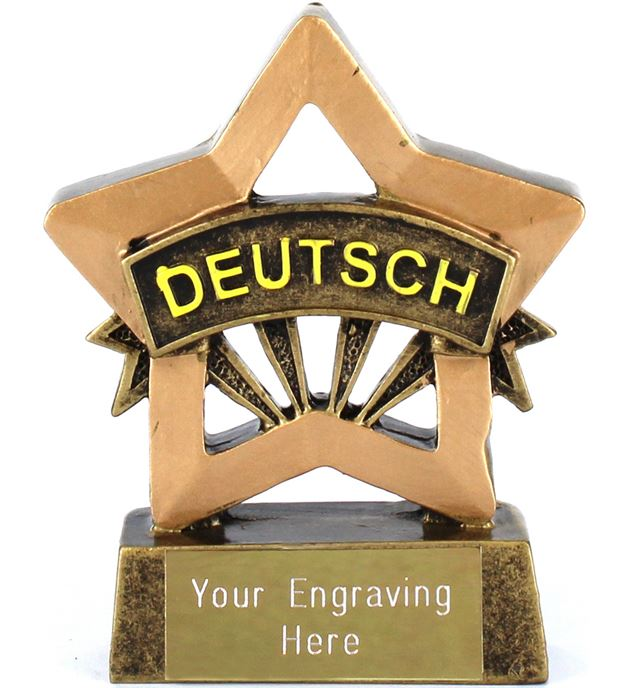 "German Resin Mini Star Award Trophy 8.5cm (3.25"")"
