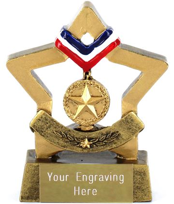 "Resin Mini Star Gold Medal Trophy 8.5cm (3.25"")"