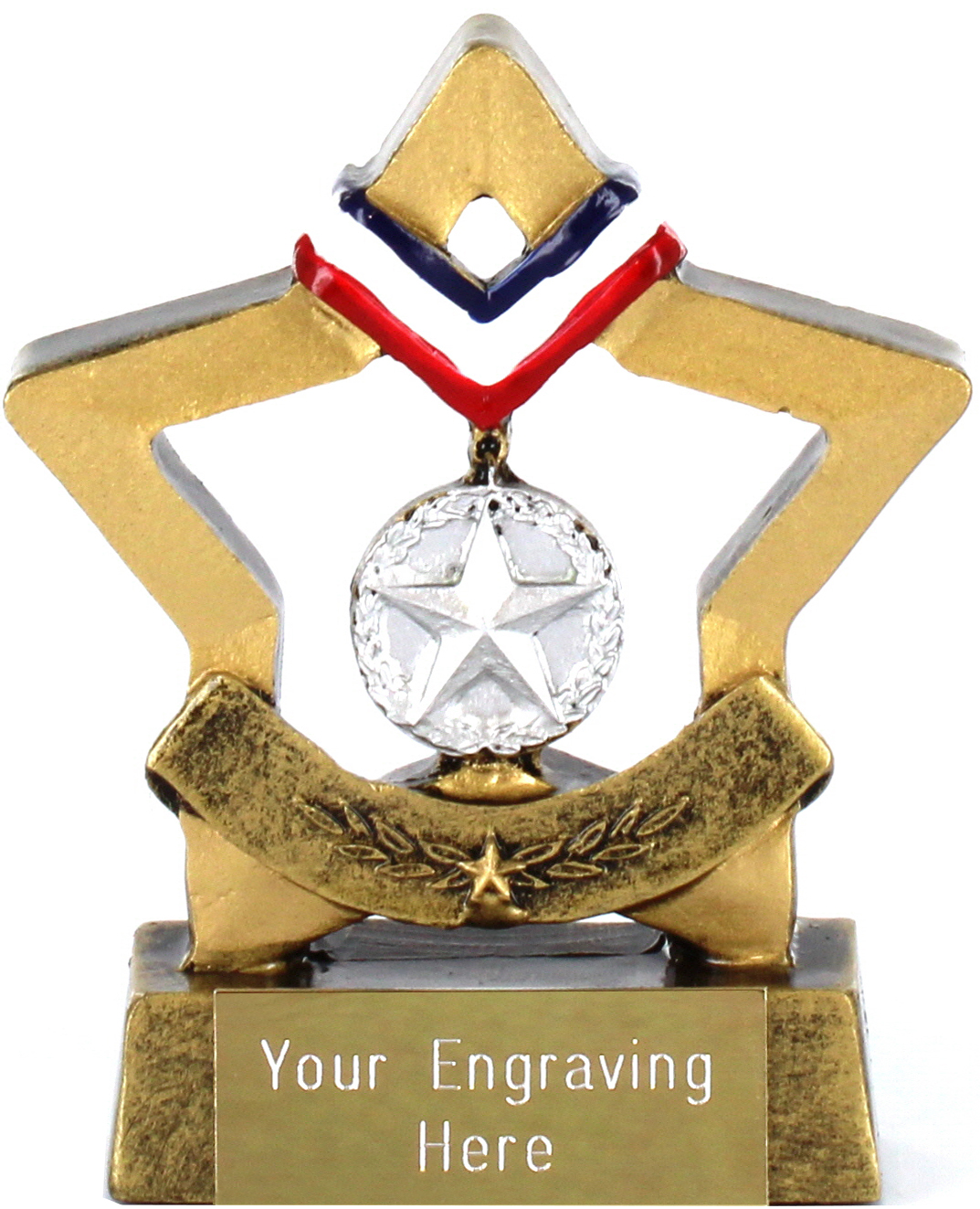 "Resin Mini Star Silver Medal Trophy 8.5cm (3.25"")"