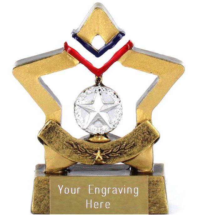 "Resin Mini Star Silver Medal Trophy 8.5cm (3.25"")"