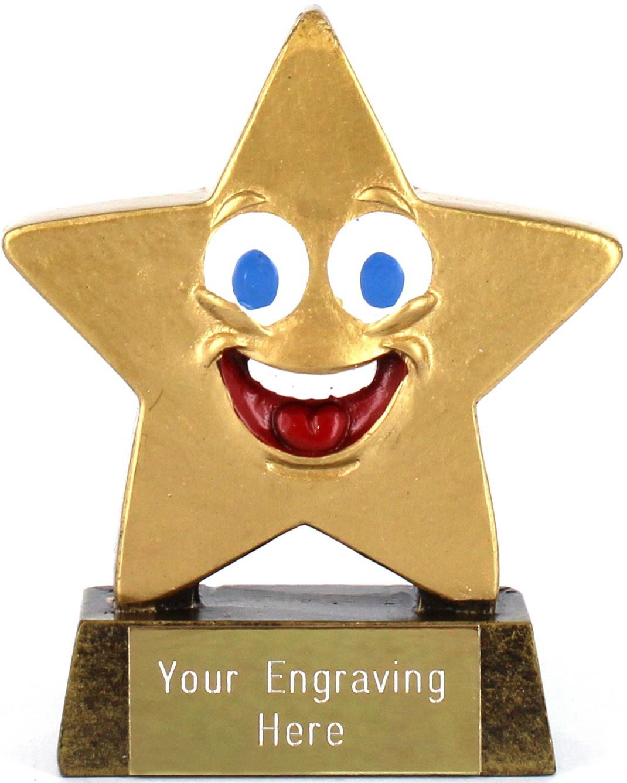 "Gold Resin Happy Face Mini Star Trophy 8.5cm (3.25"")"