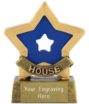 "Blue Mini Star Award House Colours 8.5cm (3.25"")"