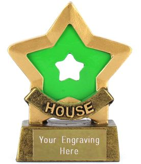 "Green Mini Star Award House Colours 8.5cm (3.25"")"
