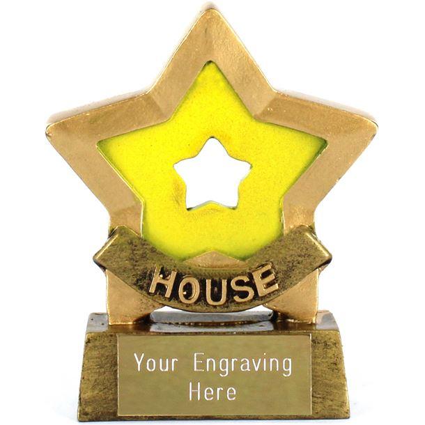 "Yellow Mini Star Award House Colours 8.5cm (3.25"")"
