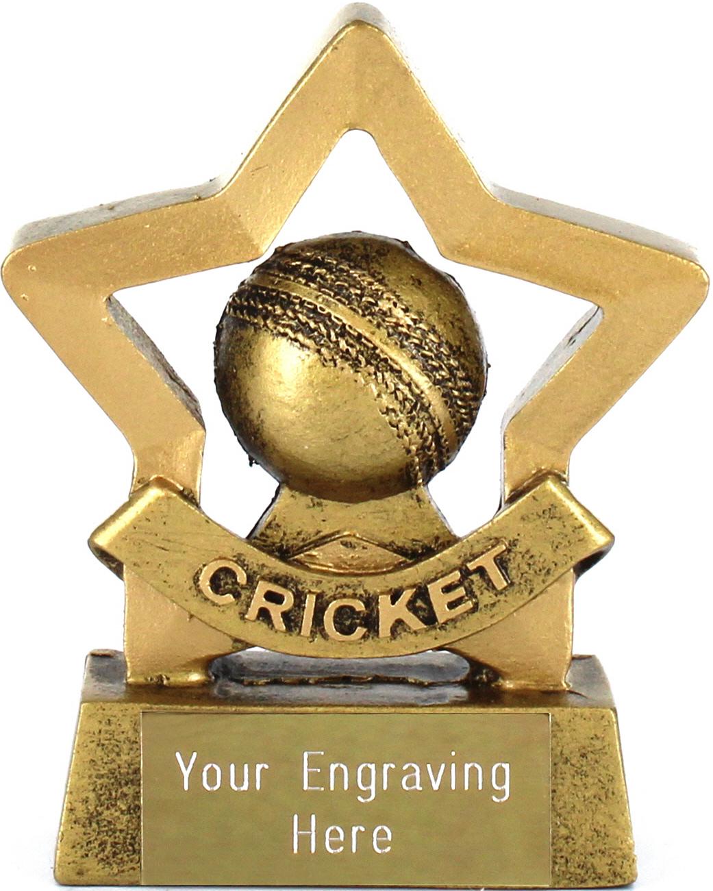 "Mini Stars Cricket Trophy with Cricket Ball 8.5cm (3.25"")"