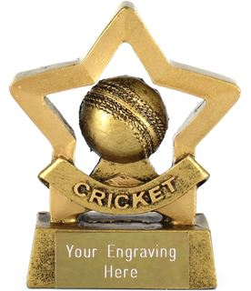 "Mini Stars Cricket Trophy with Cricket Ball 8.5cm (3.25"")"
