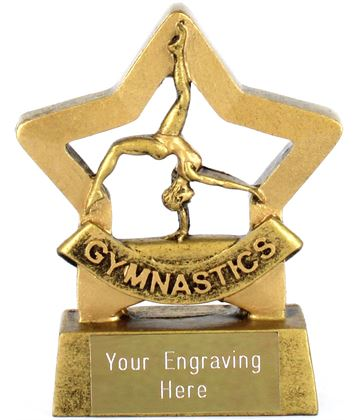 "Gold Mini Stars Female Gymnastics Award 8.5cm (3.25"")"