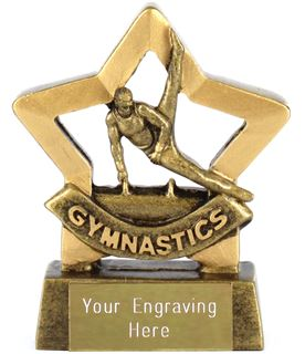 "Gold Mini Stars Male Gymnastics Award 8.5cm (3.25"")"