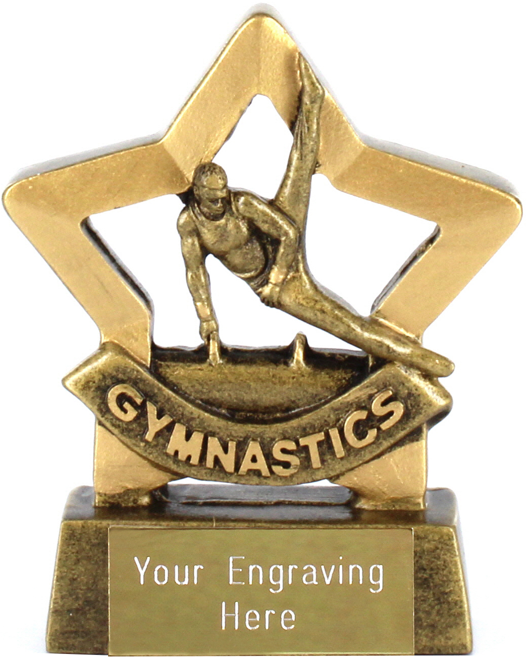 "Gold Mini Stars Male Gymnastics Award 8.5cm (3.25"")"