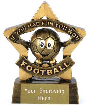 """Mini Stars If You Had Fun You Won Football Trophy 8.5cm (3.25"""")"""