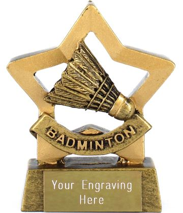 "Mini Stars Badminton Award Trophy 8.5cm (3.25"")"
