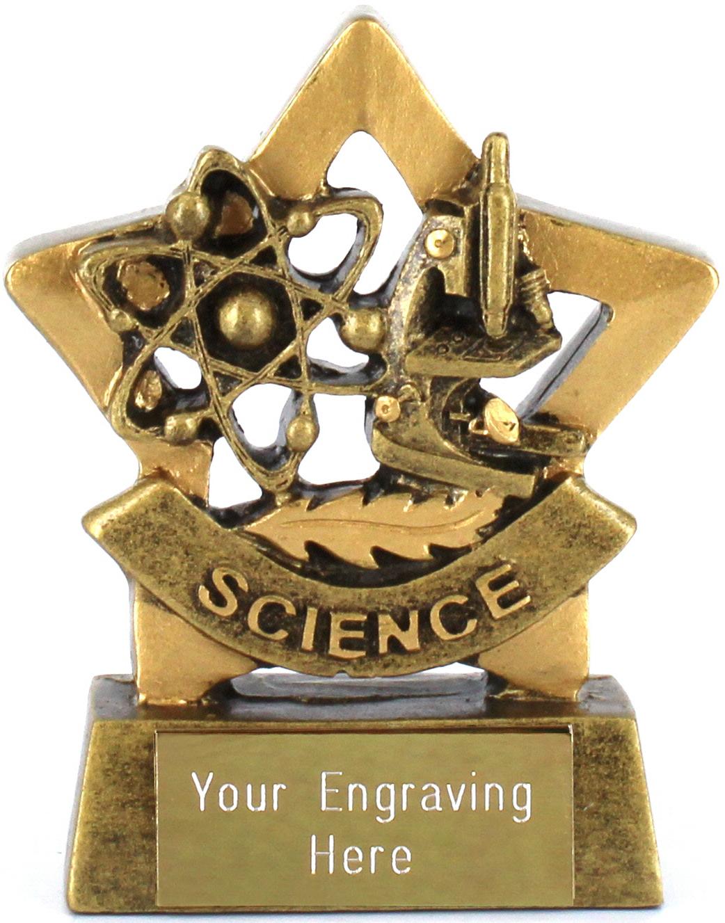 "Mini Stars Science Award Trophy 8.5cm (3.25"")"