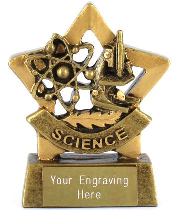 "Mini Stars Science Award Trophy 8.5cm (3.25"")"