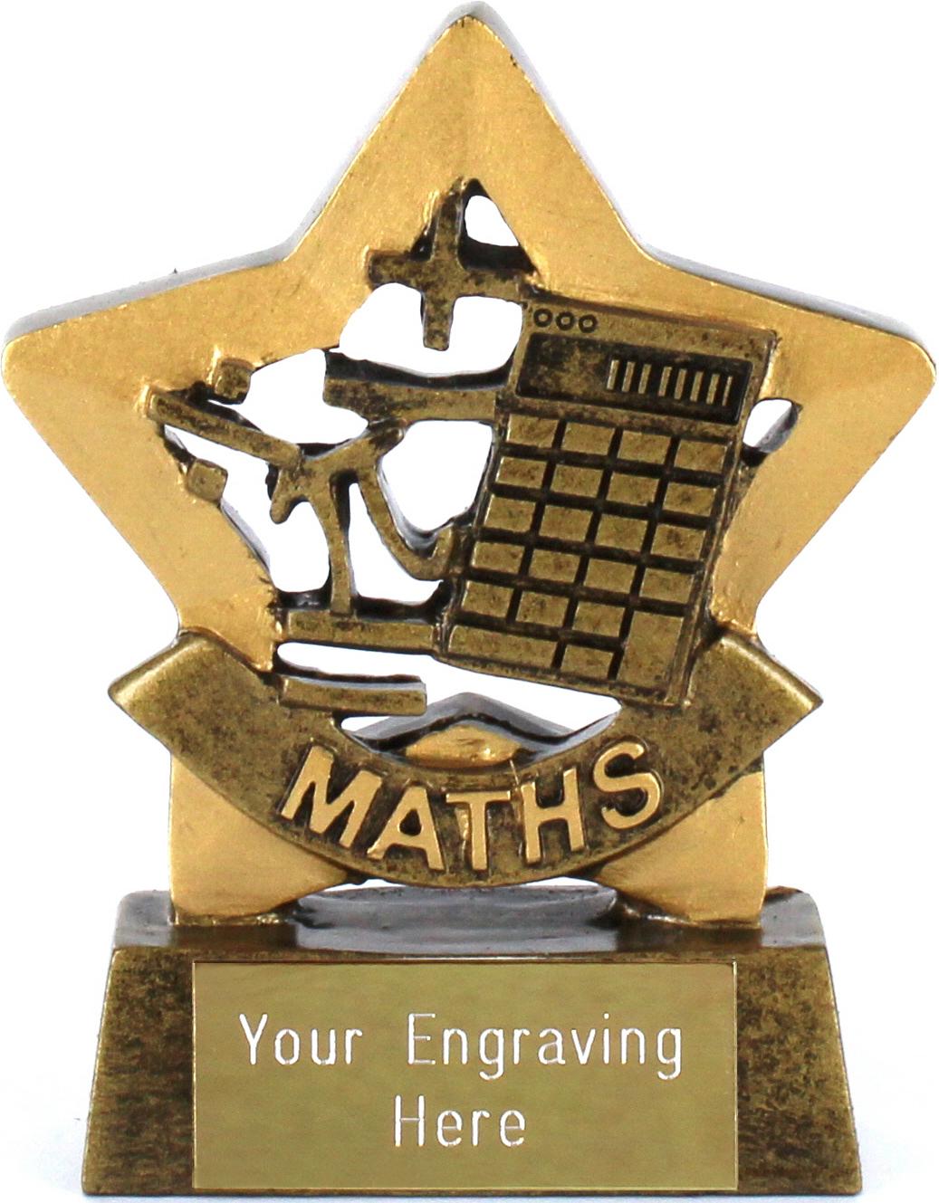 "Mini Stars Maths Award Trophy 8.5cm (3.25"")"