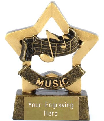 "Mini Stars Music Award Trophy 8.5cm (3.25"")"