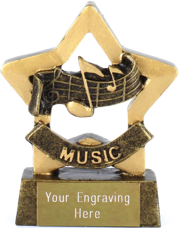 "Mini Stars Music Award Trophy 8.5cm (3.25"")"