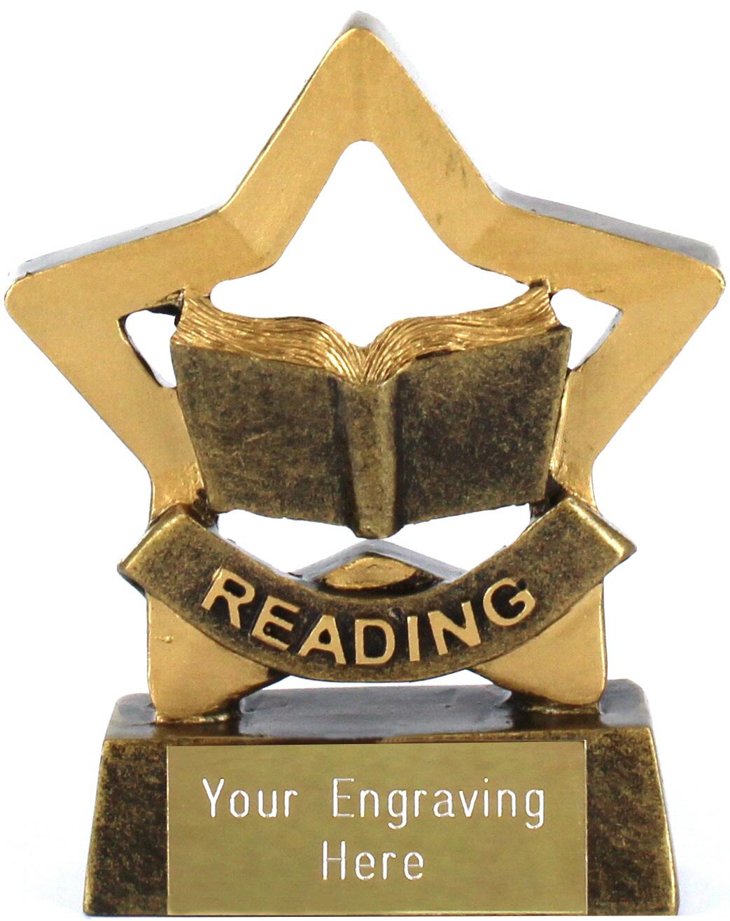 "Mini Stars Reading Award Trophy 8.5cm (3.25"")"