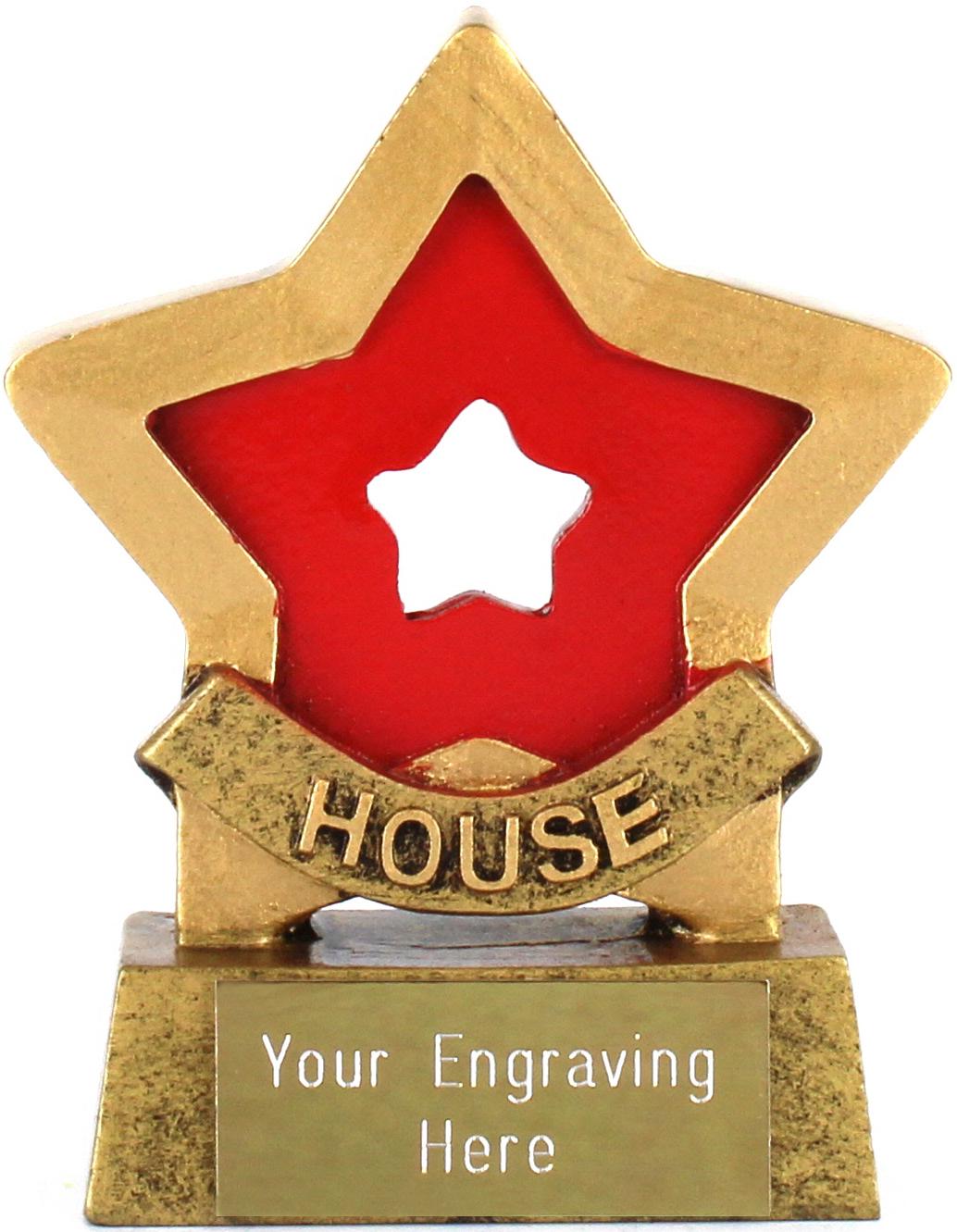 "Red Mini Star Award House Colours 8.5cm (3.25"")"