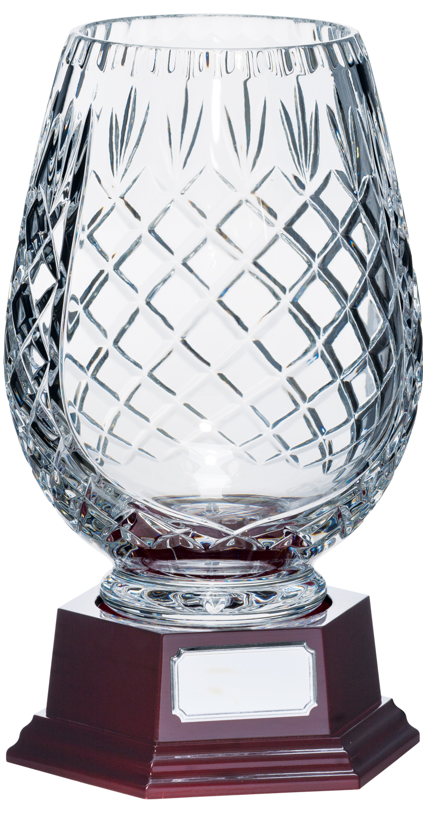 "3/4 Cut Crystal Vase on Piano Finish Base 30cm (11.75"")"