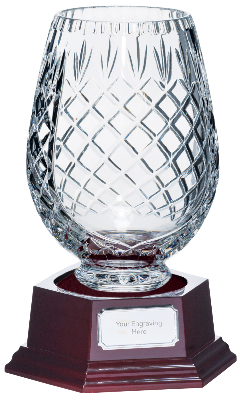 "3/4 Cut Crystal Vase on Piano Finish Base 20.5cm (8"")"