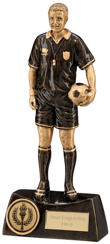 "Bronze Resin Referee Football Trophy 21cm (8.25"")"