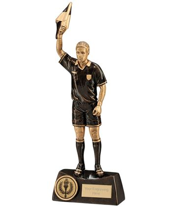 "Bronze Resin Flag Referee Football Trophy 25.5cm (10"")"
