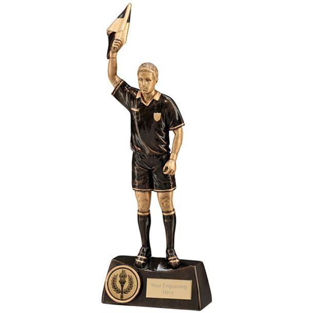 "Bronze Resin Flag Referee Football Trophy 25.5cm (10"")"