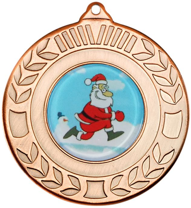 "Bronze Christmas Wreath Medal 50mm (2"")"