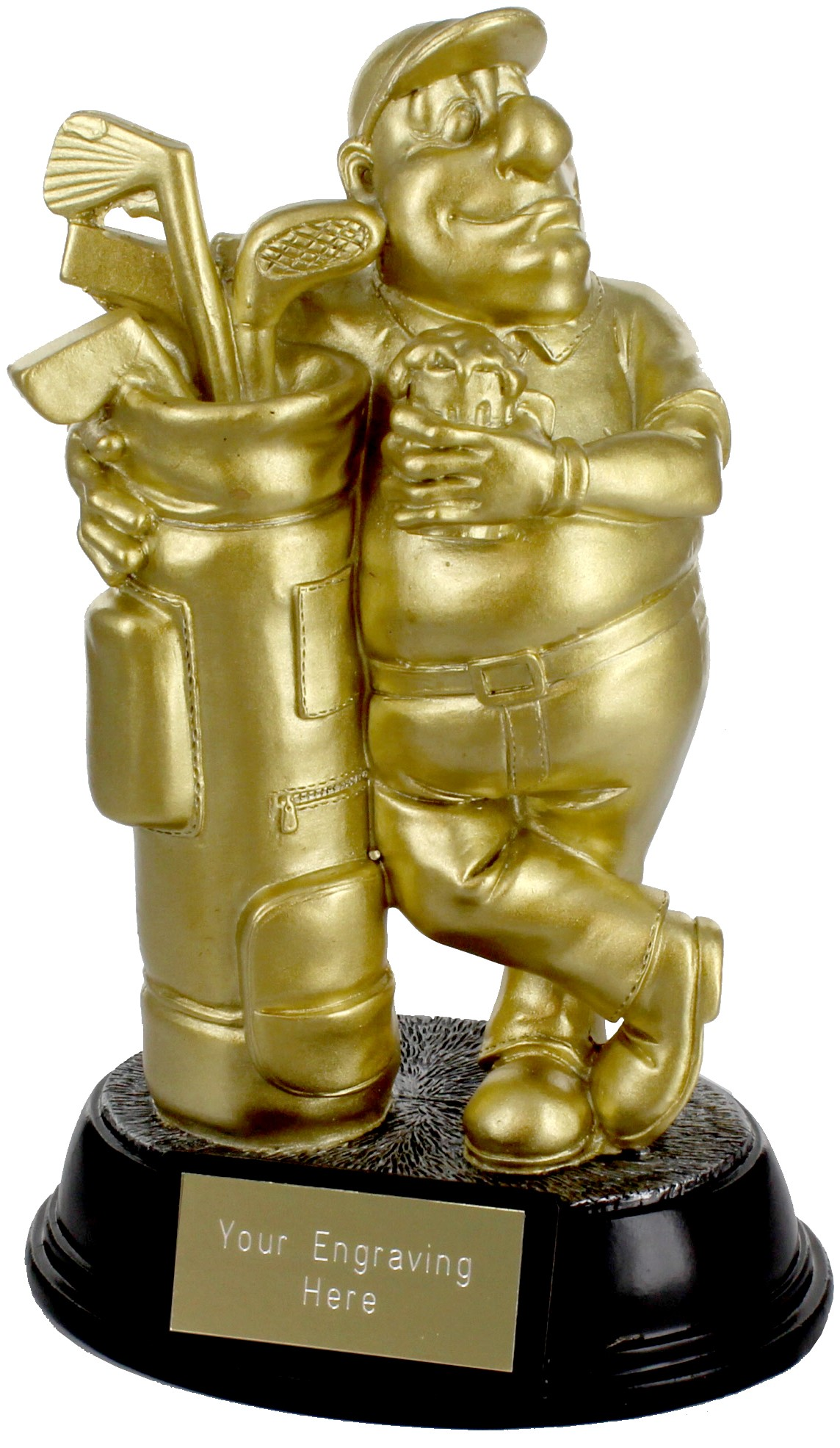 "Gold Resin Outrageous Beer Bellies Golfer Trophy 16.5cm (6.5"")"