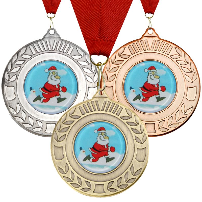 "Christmas Santa Wreath Medal Set 50mm (2"")"