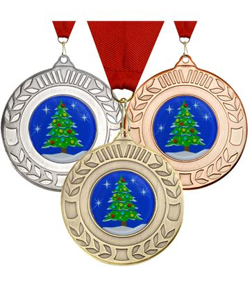 "Christmas Tree Wreath Medal Set 50mm (2"")"