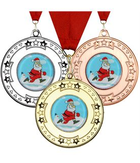 "Christmas Santa Star Medal Set 50mm (2"")"