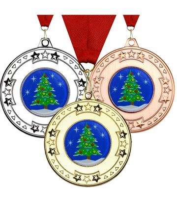 "Christmas Tree Star Medal Set 50mm (2"")"
