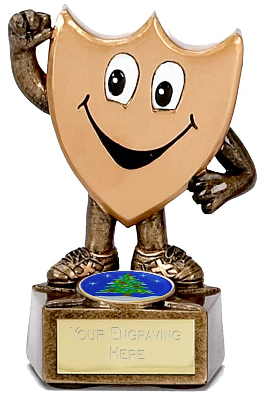 "Children's Christmas Trophy Shield Man 9.5cm (3.75"")"