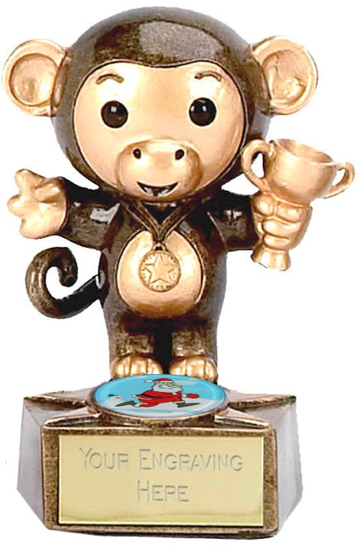 "Christmas Monkey Trophy 9cm (3.5"")"