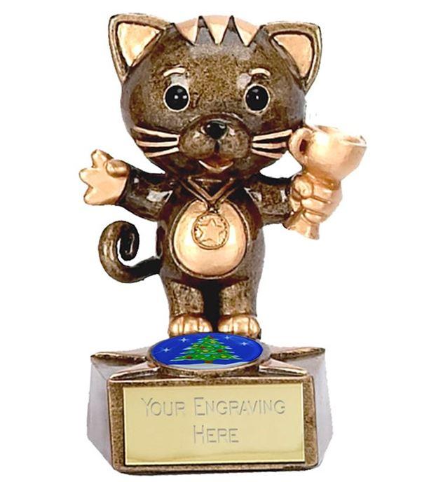"""Christmas Cat Trophy 9cm (3.5"""")"""