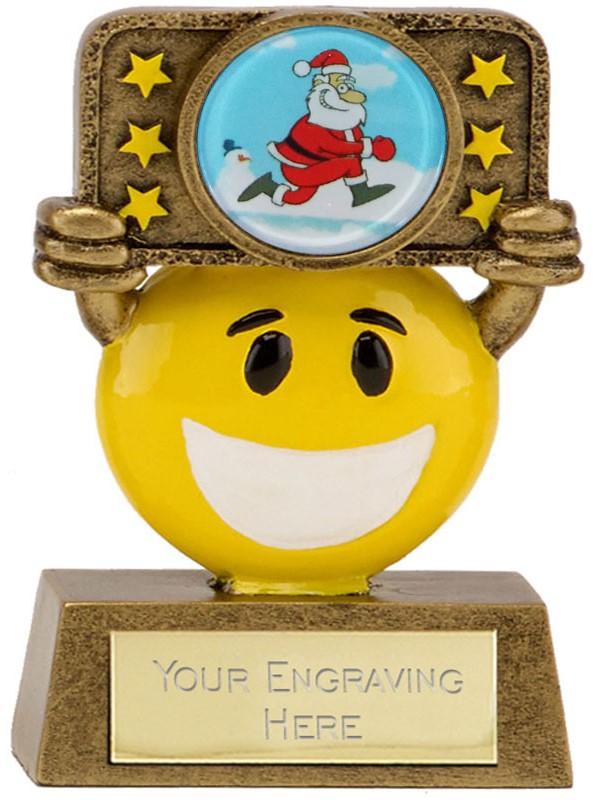 "Christmas Happy Face Trophy 9cm (3.5"")"